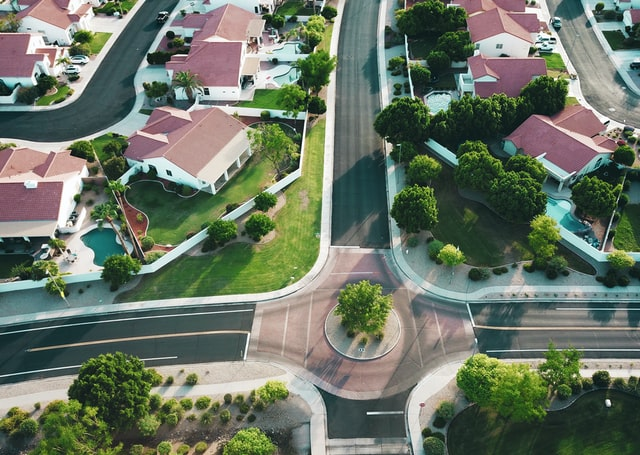 aerial view of a HOA community